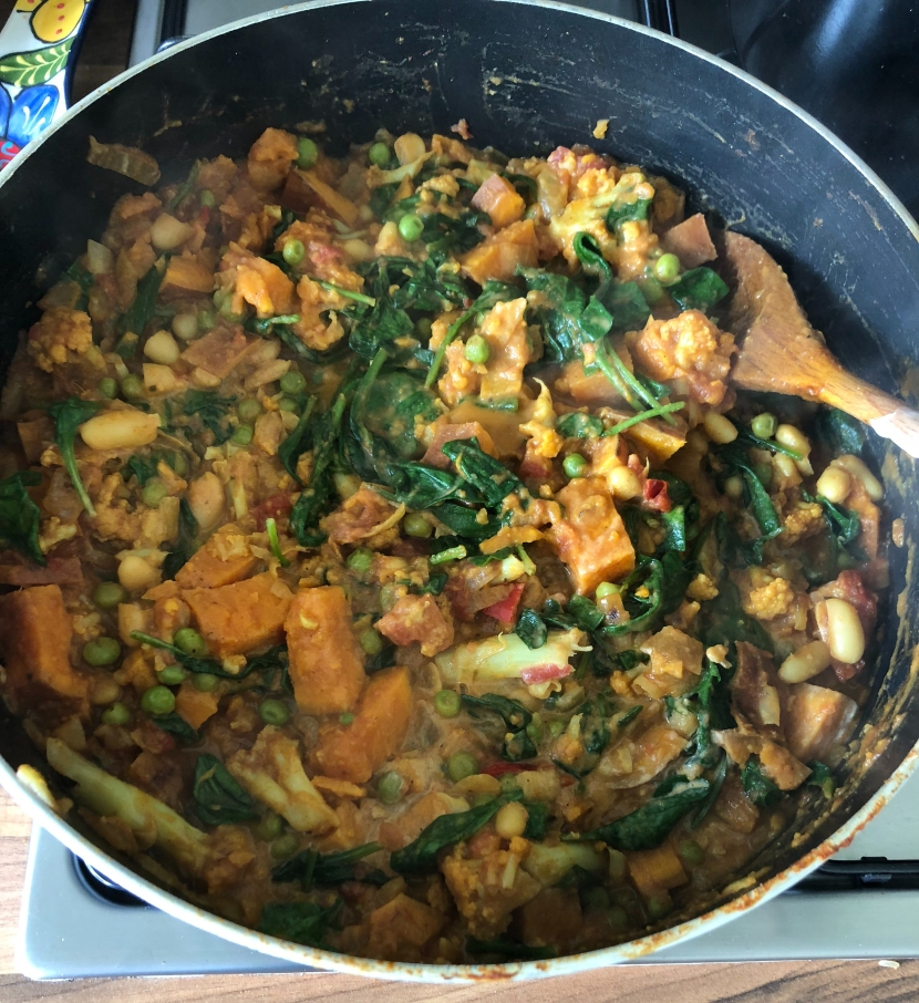 Supercharged Cauli, Sweet Potato and Spinach Curry