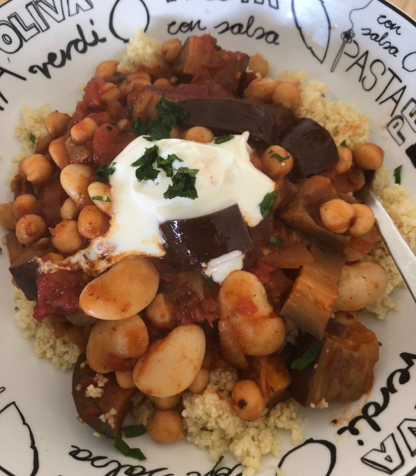 Lemon, Bean and Aubergine Tagine